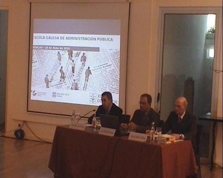 Inauguración do seminario. Grabación lado mesa ponentes - Seminario luso-galaico de dereito local. Dereito do Urbanismo